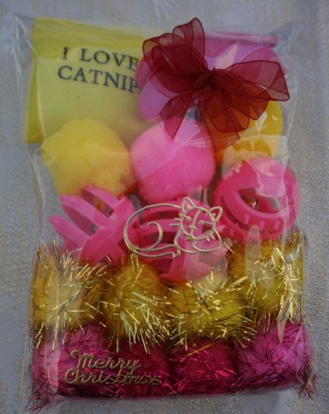 CHRISTMAS CAT TOY PACK - HAND DECORATED AND FILLED WITH 16 ASSORTED CAT TOYS #2